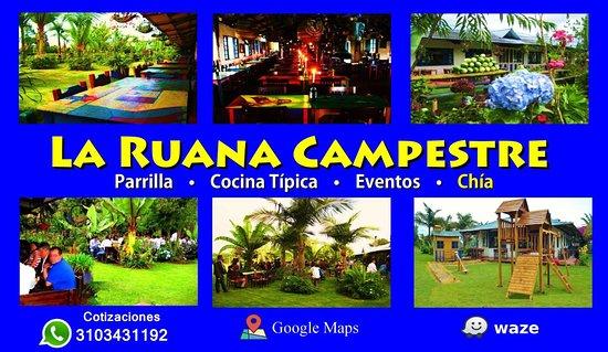 La Ruana Campestre - Restaurante, Parrilla & Eventos: Restaurante La Ruana Campestre Parrilla, Cocina Típica & Eventos  EVENTOS EMPRESARIALES Y FAMILIARES. Despedidas de Fin De Año. Chía, Sabana de Bogotá  Cotizaciones: Whatsapp: 3103431192 e-mail: laruanacampestre@yahoo.es Página Web: http://www.laruanacampestre.wixsite.com/chia  Organizamos sus Eventos Empresariales.  Ambiente Campestre. Sabana de Bogotá. Capacidad para grupos grandes. Amplio Estacionamiento. Campo de Fútbol.