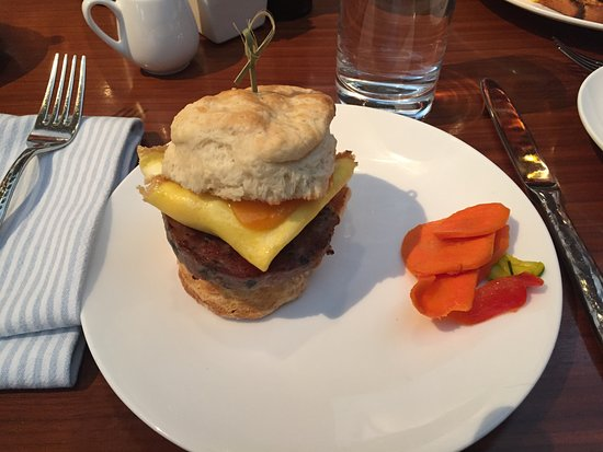Nice breakfast sandwich with sorghum sausage (quite good)