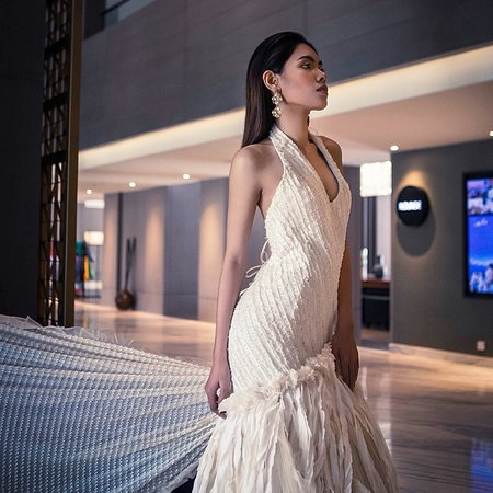 Miss Cambodia  wearing MUOY Chorm Fashion Designer Collection for photo-shooting