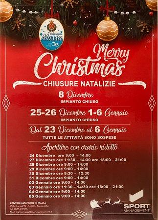 Marina di Massa, Italy: Orari durante il periodo natalizio