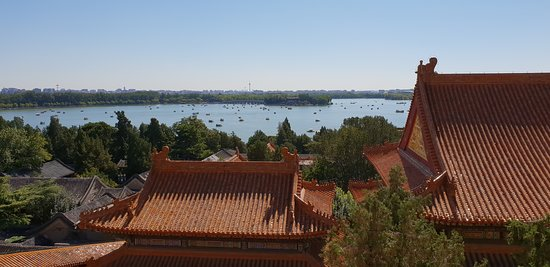 View from the temple on top of the hill, showing the man made lake which you can get a boat across