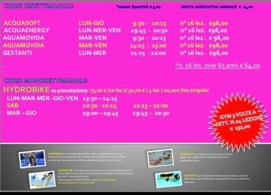 Marina di Massa, Italy: Corsi di fitness e hydrobike nelle ore che preferisci