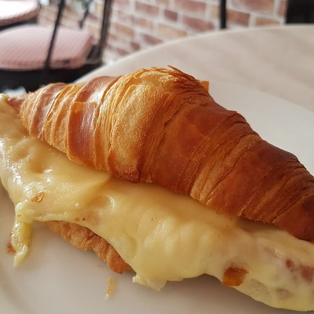 Croissant with melted emmental cheese!
