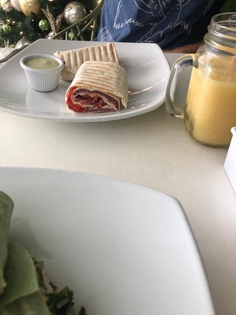 You can see one of the smoothies in the photo with the wrap