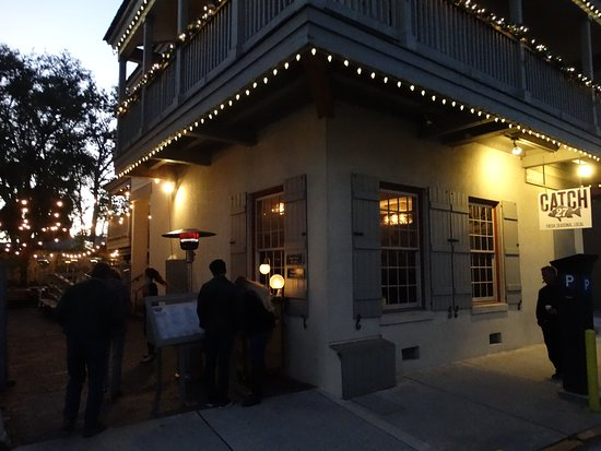 Catch 27 decorated for Christmas at dusk
