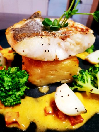 Grundisburgh, UK: Hake fillet, chorizo cream, dauphinoise potato, baby turnips