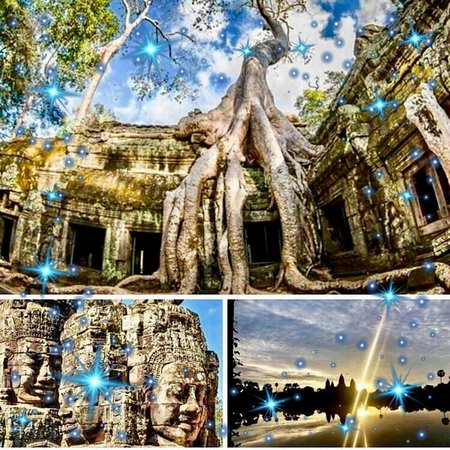 With the monk at temple tours,South  Gate of Angkor Thom Capital,Sunset at Tonle Sap lake, Via me by Facebook Nasa Angkor Driver  Best wishe