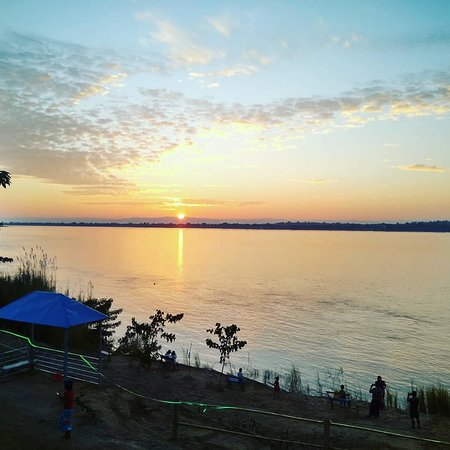 Pyay, Myanmar: Beautiful sunset view at riverview garden