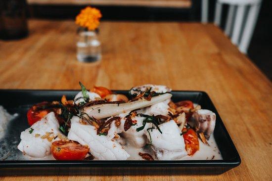 Organic Mekong fish, coconut, lemongrass, lime, cherry tomatoes
