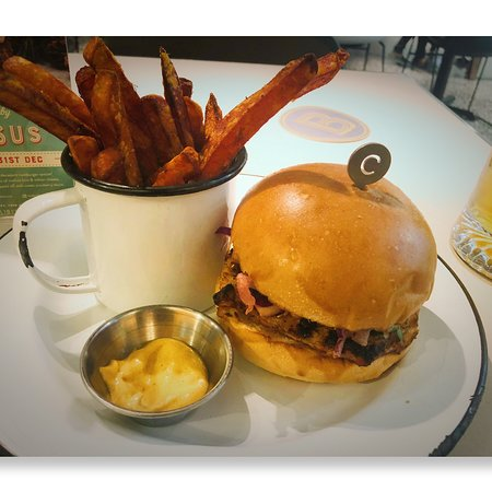 Can't beat the Moroccan Chicken burger with sweet potato fries!