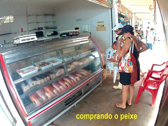 comprando o peixe/camarão no box