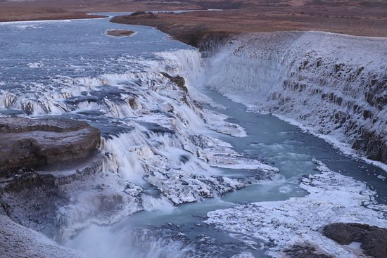 Golden Circle Afternoon and Northern Lights Tour from Reykjavik: Semi frozen Waterfall