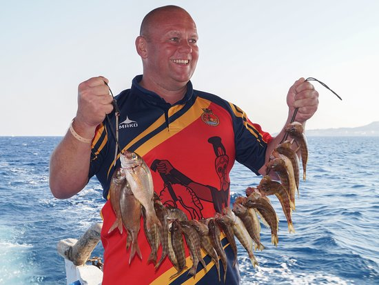 Makarounas Fishing Trip Rhodes: Good catch. The smile says it all.