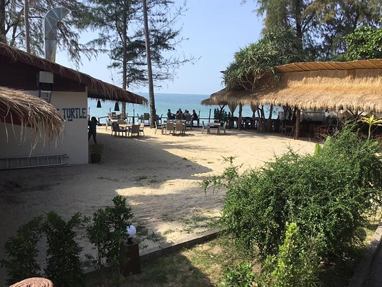 Balcony view , also showing the  Fat Turtle, new beach bar