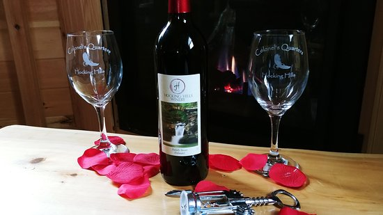 New Straitsville, OH: Commemorative CQ wine glasses which may be added to your stay package.