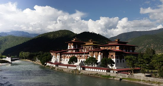 Punakha dzong which is at the confluence of male and female river in western bhutan.
