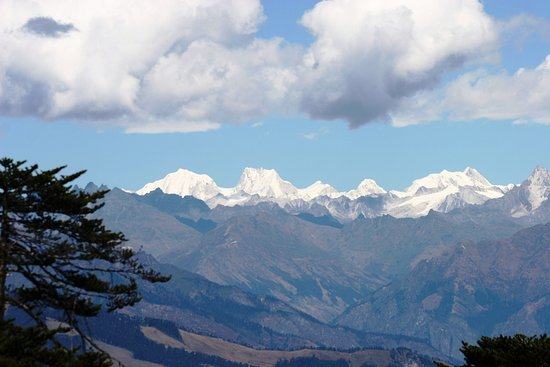 view of snow caped mountain in Bhutan