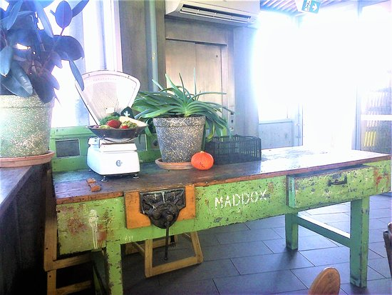 interesting giant old workbench makes for a touch of colourful décor.  [August 2018]