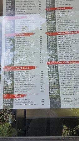Toorak Gardens, Австралия: Takeaway menu in driveway at the back