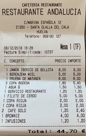Santa Olalla del Cala, Spain: la cuenta