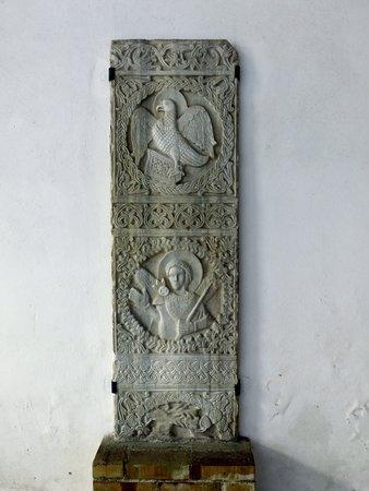 Chiesa di San Salvatore a Corte : Antica stele in pietra scolpita all'interno di San Michele