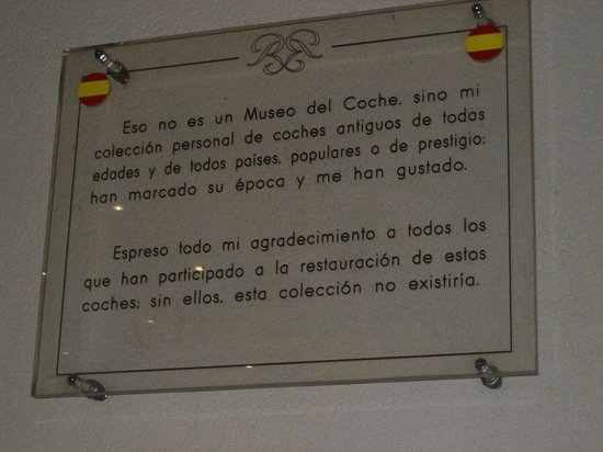Dedicatoria de Rainiero traducida para dar la bienvenida al museo.