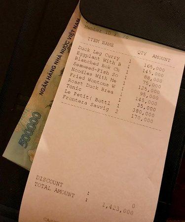 Morning Glory Restaurant: Total bill > 1 million!