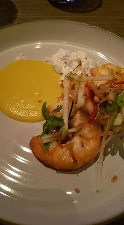 The Dining Room: Pan seared Hervey Bay Prawns. Kaffir Lime leaves, green apple, peanuts, corn bisque