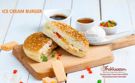 ICE CREAM BURGER:  Crispy and hot on the outside and cold and creamy in the inside, what more can you ask for in a delicious dessert!? Introducing Thakkaaram's Special dessert for Kids in this summer, and this is a Perfect time for #Icecream #Burger…!!   Come out and grab our delicious #Icecream Burger from Thakkaaram Dubai Ph: 042504020/42504717  #Thakkaaram #Restaurant, #Garhoud, #Dubai.   #thakkaaram #IceCreamBurger #Dubai #Dessert
