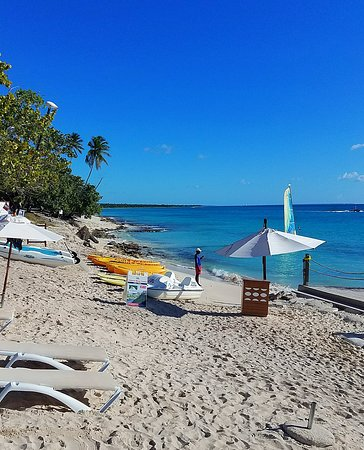 Dreams Dominicus La Romana : Looking to the east, small souvenir shops are just beyond the trees
