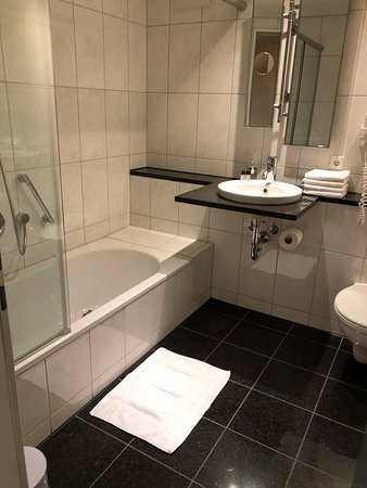 Nagold, Germany: Sparkling clean, but curiously high magnifying mirror.