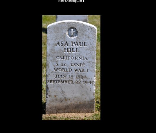My Uncle, Asa Paul Hill, was buried in the Golden Gate National Cemetery shortly after it opened