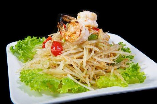 Tarin Thai Cuisine: Papaya Salad~  Thailand's Popular Spicy Green Shredded Papaya Salad shown with Shrimp added