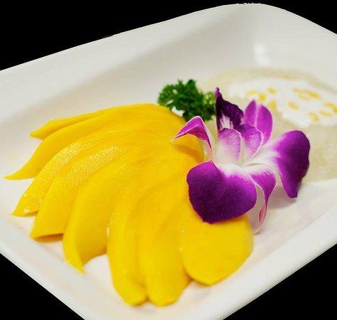 Tarin Thai Cuisine: Exotic Dessert!  Fresh, Sliced Mango with Creamy, Sweet Sticky Rice
