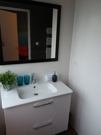 Effet Lodge: Espace lavabo séparé de l'espace WC-douche, éclairé naturellement par une grande fenêtre !