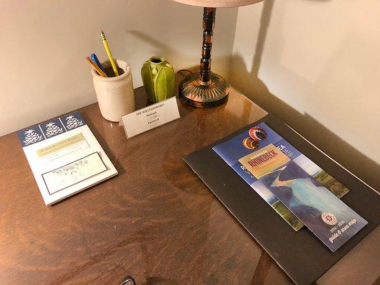 The Garden Room desk ready for use.
