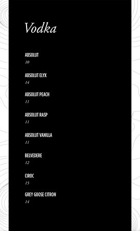HI-SO drinks menu