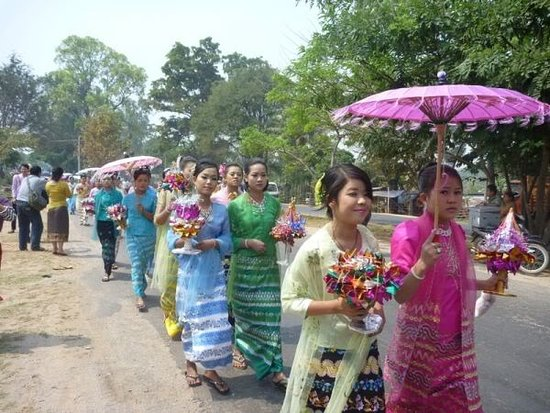 Mandalay Region, Myanmar: A scene of initiation for procession
