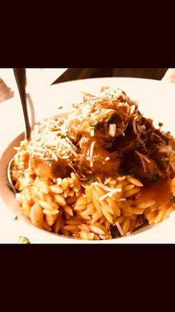 beef meat with orzo pasta