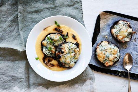 stuffed mushrooms and polenta