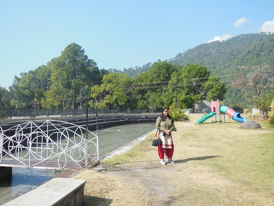 "Palampur, India: A small ""river"" with a model bridge is the main attraction here"