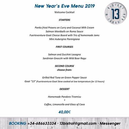 13 Bistrot & Tapas Bar: New Year's Eve Menu 2019