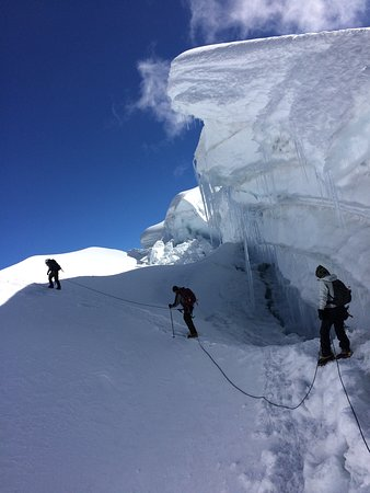 Climbing Vallunaraju Mountain