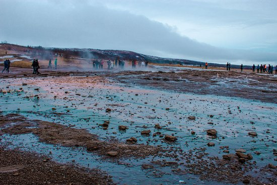 South Coast: Fire & Ice | Glacier Hike, LAVA, Waterfalls & Black Sand Beach: Geysir during the Golden Circle Tour