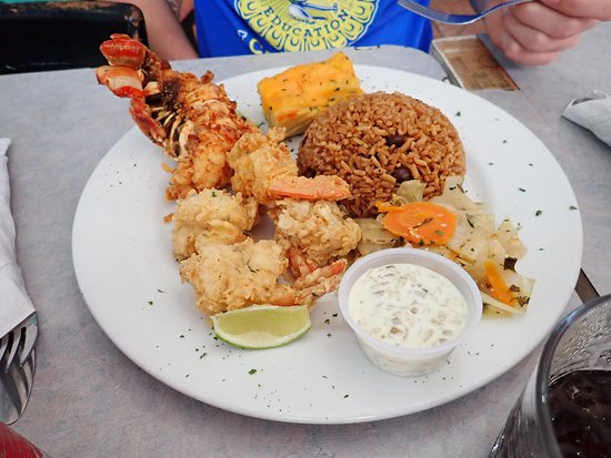 Spiny lobster and cracked shrimp. Good but fairly expensive around 30 dollars US. They serve the cracked with tarter sauce. Also the mac'n cheese is a block.  Its the square behind the rice.