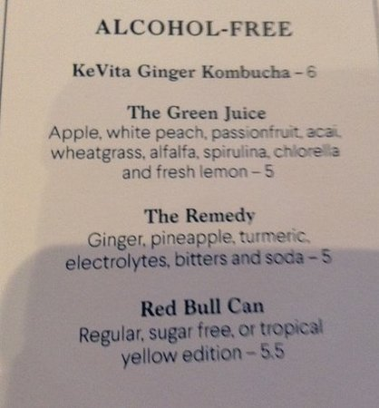 Apologies for the photo, but these are the non alcoholic drinks I recommended in my review above.
