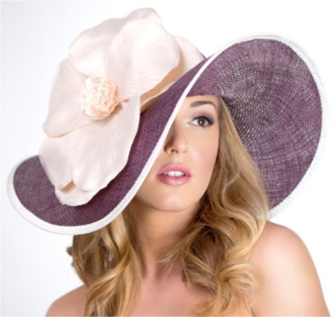 Forme Millinery: Flipped brim with handmade flower.