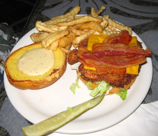 Fried ranch bacon chicken sandwich with fries