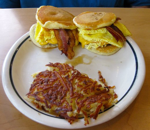 Sausage bacon egg cheese pancake sliders with a side of hash browns - but you can have fruit instead