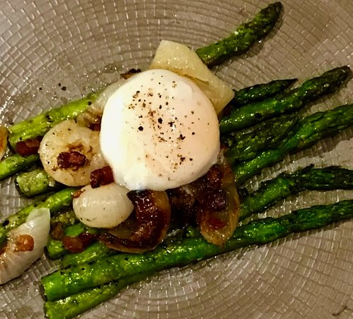 Asparagus Uovo - Grilled asparagus, pancetta and Cipollini onion topped with a one-hour poached egg